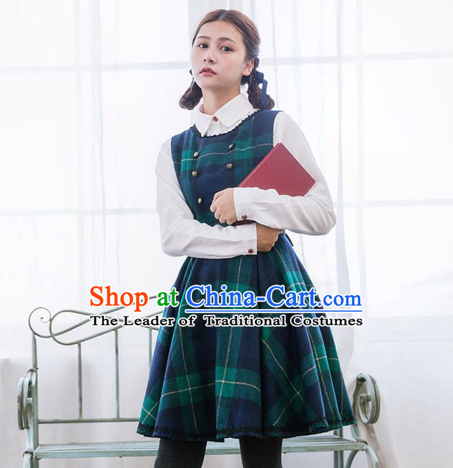 Traditional Classic Elegant Women Costume Woolen Sundress, Restoring Ancient British Style Princess Wool Jumper Skirt for Women