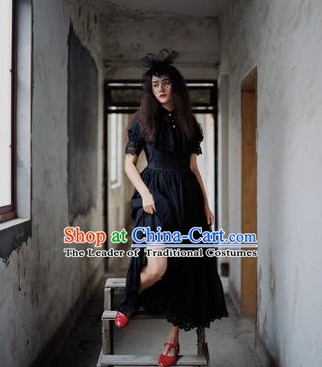 Traditional Classic Elegant Women Costume One-Piece Dress, Restoring Ancient Princess Gothic Lace Dress for Women