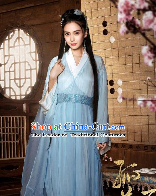 Traditional Chinese Ancient Heroine Fairy Costumes, Ancient Chinese Cosplay Swordswomen Knight Costume and Hair Accessories Complete Set for Women
