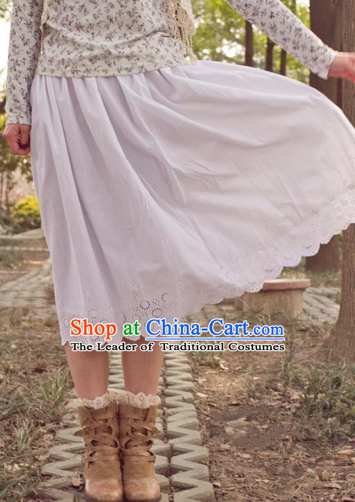 Traditional Classic Elegant Women Costume Cotton Half Skirt, Restoring Ancient Princess Embroidered Long Skirt for Women