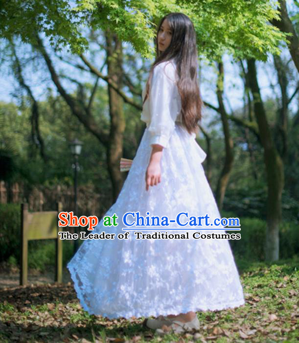 Traditional Classic Elegant Women Costume Bust Skirt, Restoring Ancient Princess Embroidery Lace Long Giant Swing Skirt for Women