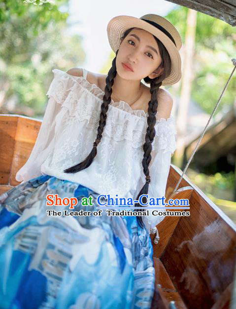 Traditional Classic Elegant Women Costume Lace White Collar Dew Shoulder Blouse, Restoring Ancient Princess Boat Neck Shirt for Women