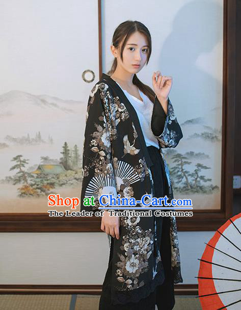 Traditional Japanese Restoring Ancient Kimono Costume Haori Crane Smock, China Kimono Modified Lace Cardigan for Women