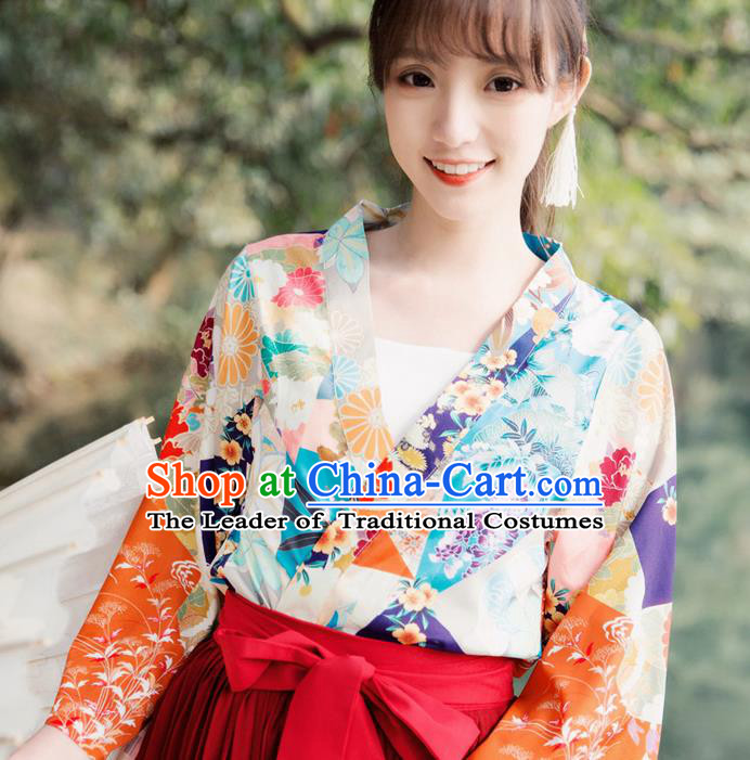 Traditional Japanese Restoring Ancient Kimono Costume Haori Short Smock, China Kimono Modified Tassel Short Cardigan for Women