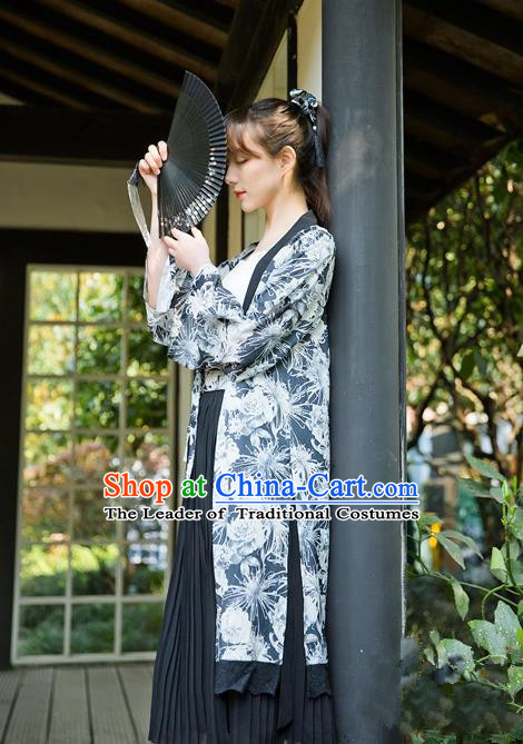 Traditional Japanese Restoring Ancient Kimono Costume Haori Smock, China Kimono Modified Double Size Lace Long Cardigan for Women