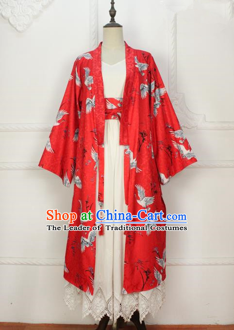 Traditional Japanese Restoring Ancient Kimono Costume Haori Smock, China Hanfu BeiZi Modified Long Cardigan for Women