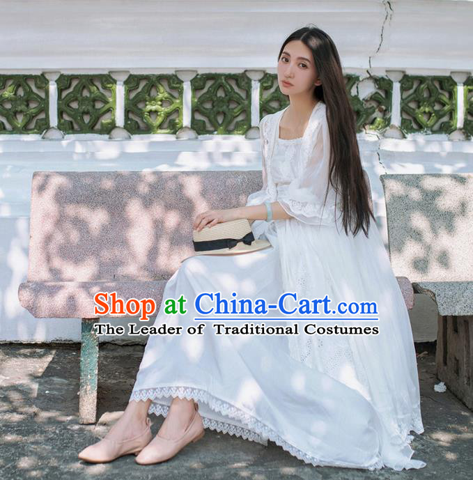 Traditional Classic Elegant Women Costume Lace Smock, Restoring Ancient PrincessLace Long Gauze Cardigan for Women