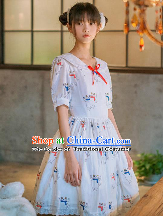 Traditional Classic Elegant Women Costume One-Piece Dress, British Restoring Ancient Princess Sweetheart Sailor Collar Dress for Women