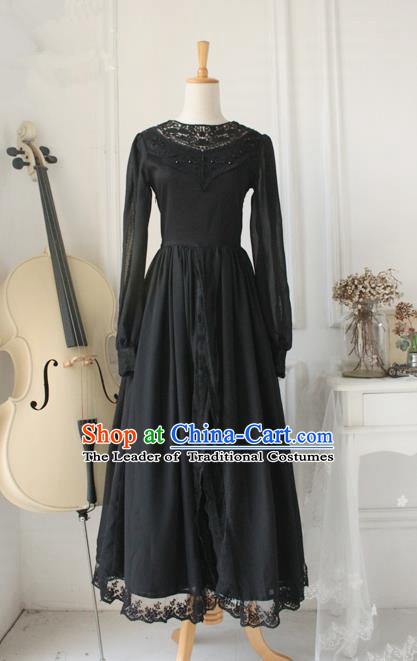 Traditional Classic Elegant Women Costume One-Piece Dress, British Restoring Ancient Princess Gothic Lace Cardigan Dress for Women