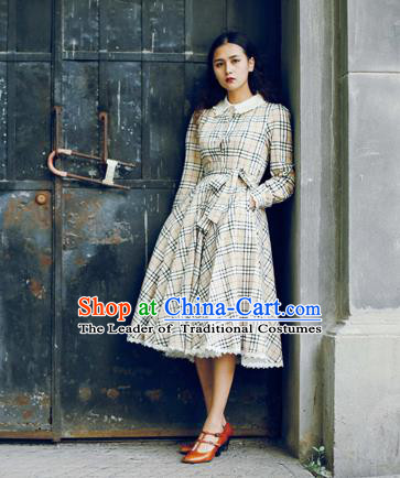Traditional Classic Elegant Women Costume One-Piece Dress, British Restoring Ancient Princess Grid Lace Dress for Women