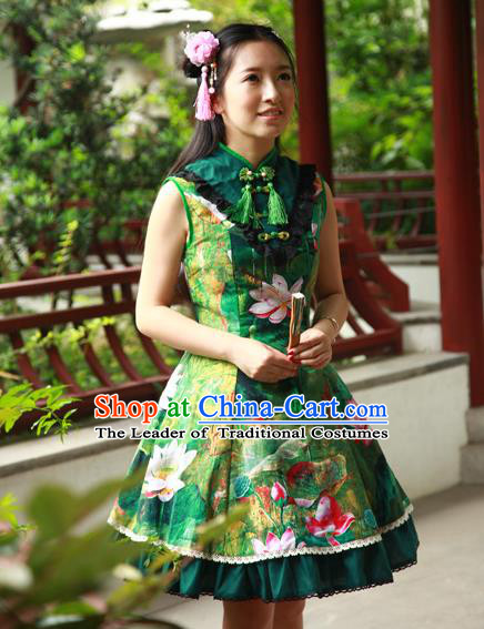 Traditional Classic Chinese Elegant Women Costume One-Piece Lotus Painting Dress, Restoring Ancient Princess Stand Collar Dress for Women
