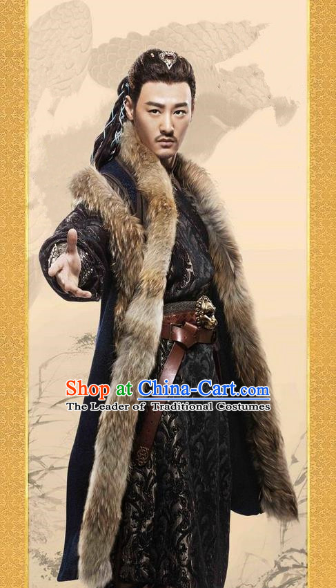 Traditional Ancient Chinese Minority Nationality Costumes, Ancient Chinese Nationality Cosplay Aristocrat Swordsmen Knight Costume Complete Set for Men