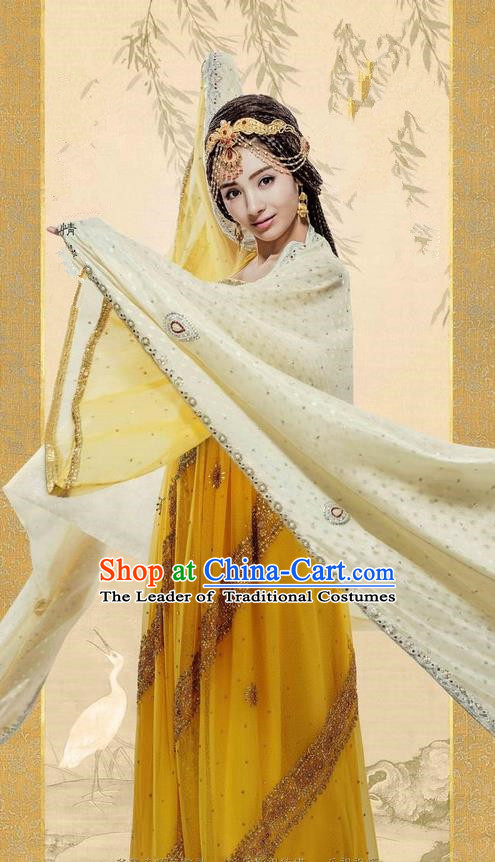 Traditional Ancient Chinese Minority Nationality Female Costumes, Ancient Chinese Nationality Princess Costume Complete Set for Women