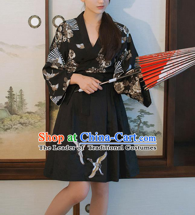 Traditional Japanese Restoring Ancient Kimono Costume Crane Bust Skirt, China Kimono Modified Short Skirt Embroidery Pleated Skirt for Women