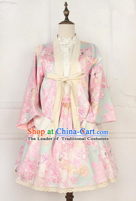 Traditional Japanese Restoring Ancient Kimono Costume Smock, China Modified Double Side Short Cardigan Sweet Jacket for Women