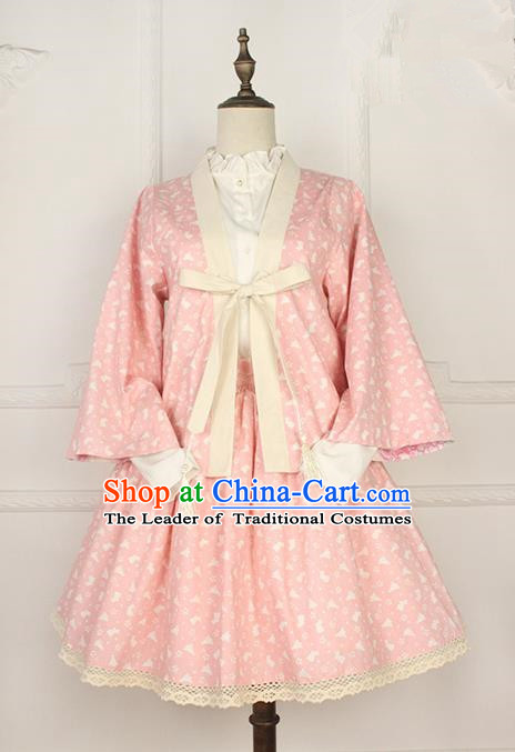 Traditional Japanese Restoring Ancient Kimono Costume Smock Small Coat, China Modified Double Side Short Cardigan Sweet Jacket for Women