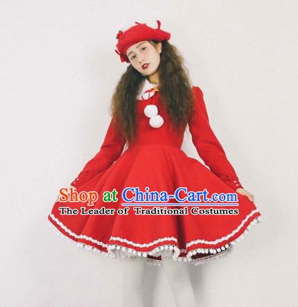 Traditional Classic Elegant Women Costume Woolen One-Piece Dress, Restoring Ancient Princess Red Skirt for Women