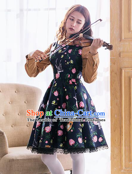 Traditional Classic Elegant Women Costume Satin One-Piece Dress, Restoring Ancient Princess Wool Giant Swing Bubble Skirt for Women