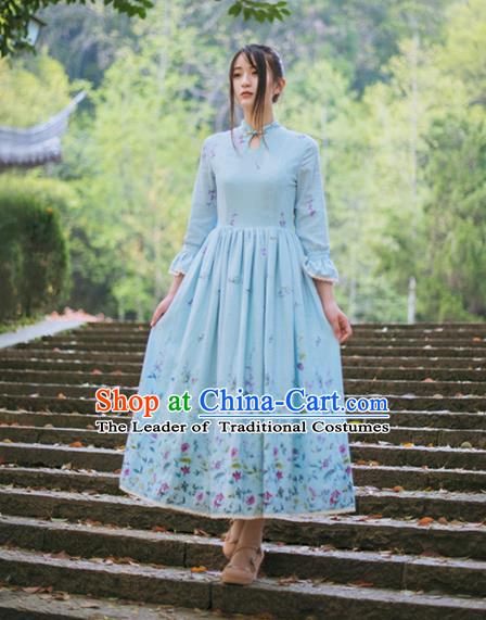 Traditional Classic Chinese Elegant Women Costume One-Piece Dress, Chinese Cheongsam Restoring Ancient Princess Plate Buttons Stand Collar Dress for Women