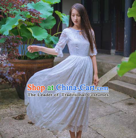 Traditional Classic Chinese Elegant Women Costume One-Piece Dress, Chinese Cheongsam Restoring Ancient Princess Stand Collar Long Dress for Women