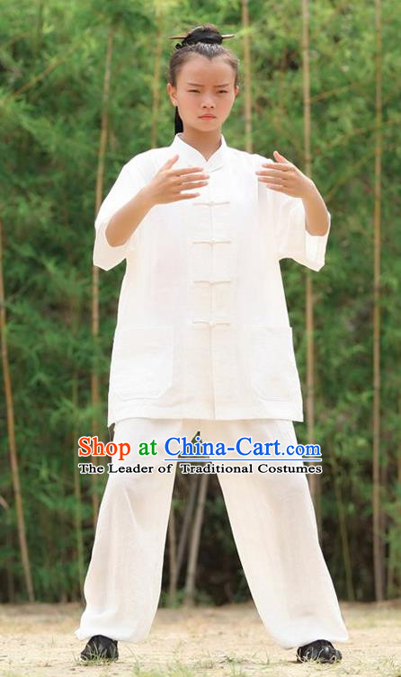 Traditional Chinese Wudang Uniform Taoist Nun Uniform Kungfu Kung Fu Clothing Clothes Pants Shirt Supplies Wu Gong Outfits, Chinese Short-Sleeve Tang Suit Wushu Clothing Tai Chi Suits Uniforms for Women
