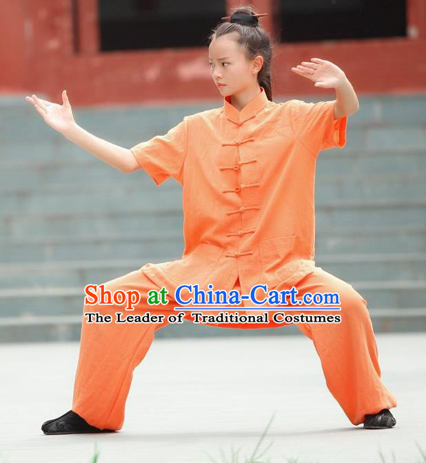 Traditional Chinese Wudang Linen Uniform Taoist Nun Uniform Kungfu Kung Fu Clothing Clothes Pants Shirt Supplies Wu Gong Outfits, Chinese Short-Sleeve Tang Suit Wushu Clothing Tai Chi Suits Uniforms for Women