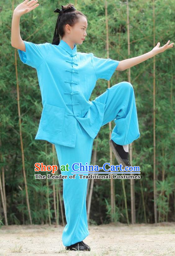 Traditional Chinese Wudang Linen Uniform Taoist Nun Uniform Kungfu Kung Fu Clothing Clothes Martial Pants Shirt Supplies Wu Gong Outfits, Chinese Short-Sleeve Tang Suit Wushu Clothing Tai Chi Suits Uniforms for Women