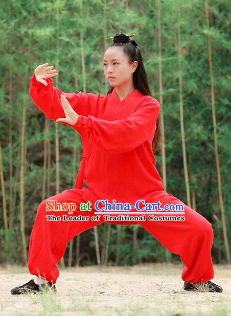 Traditional Chinese Wudang Uniform Taoist Nun Uniform Linen Priest Frock Kungfu Kung Fu Clothing Clothes Pants Slant Opening Shirt Supplies Wu Gong Outfits, Chinese Tang Suit Wushu Clothing Tai Chi Suits Uniforms for Women