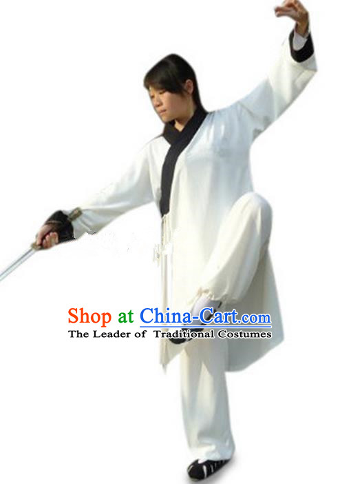 Traditional Chinese Wudang Silk Uniform Taoist Nun Uniform Priest Frock Kungfu Kung Fu Clothing Clothes Martial Pants Shirt Supplies Wu Gong Outfits, Chinese Short-Sleeve Tang Suit Wushu Clothing Tai Chi Suits Uniforms for Women