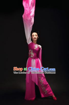 Traditional Chinese Classical Twirls Dance Dress, Long Water-Sleeve Dancing Costume Umbrella Dance Suits, Folk Dance Yangko Costume for Women