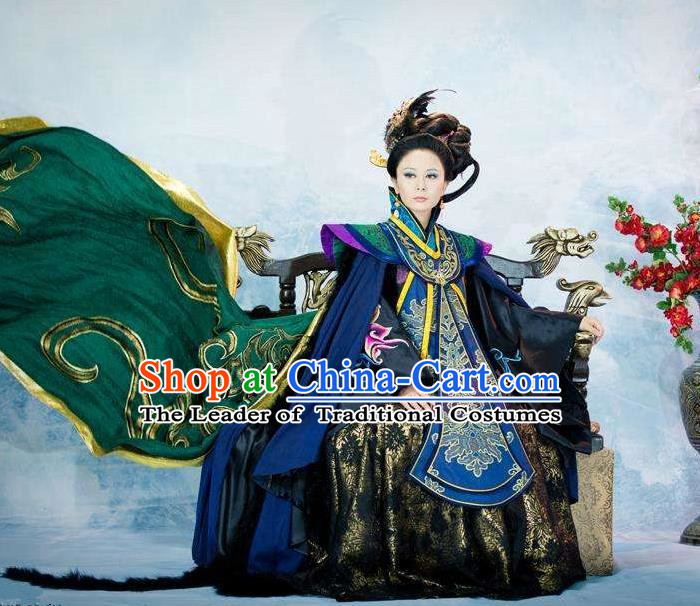 Traditional Chinese Ancient Imperial Empress Women Costumes, Chinese Empress Dowager Clothes and Accessories Complete Set for Women