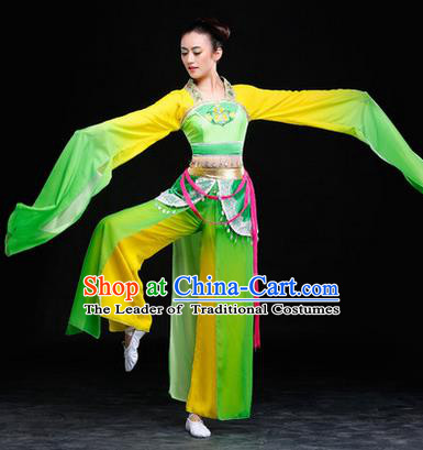 Traditional Chinese Classical Twirls Dance Chiffon Dress, Long Water-Sleeve Dancing Costume Umbrella Dance Suits, Folk Dance Yangko Costume for Women