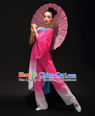 Traditional Chinese Classical Yangko Jasmine Flower Dance Gradient Dress, Yangge Fan Dancing Costume Umbrella Dance Suits, Folk Dance Yangko Costume for Women