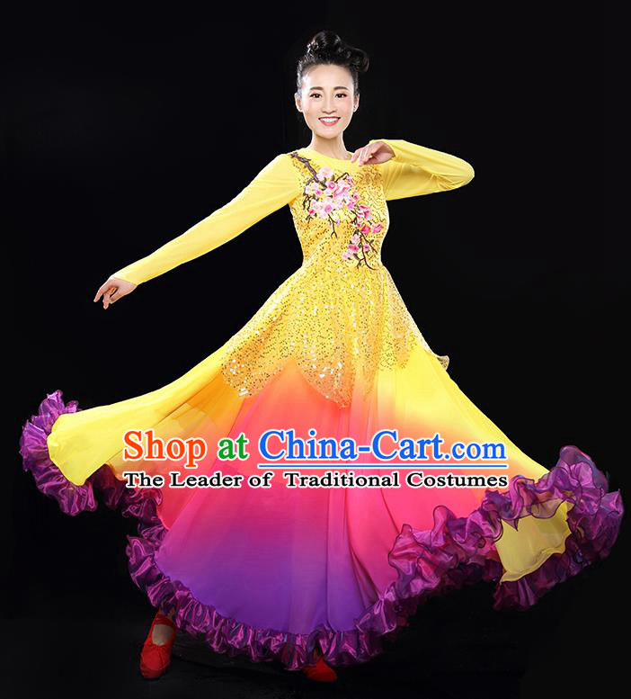 Traditional Chinese Classical Yangko Modern Dance Gradient Dress, Opening Dancing Costume Umbrella Dance Suits, Folk Dance Yangko Costume for Women