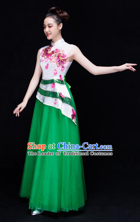 Traditional Chinese Classical Yangko Modern Dance Dress, Opening Dancing Costume Umbrella Dance Suits, Folk Dance Yangko Costume for Women