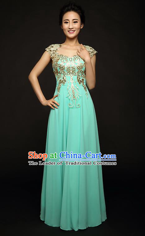 Traditional Chinese Classic Stage Performance Chorus Singing Group Dance Costumes, Chorus Competition Full Dress, Compere Costumes for Women