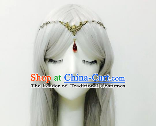 Traditional Chinese Ancient Jewelry Accessories, Ancient Chinese Imperial Princess Frontlet and Wigs Complete Set for Women