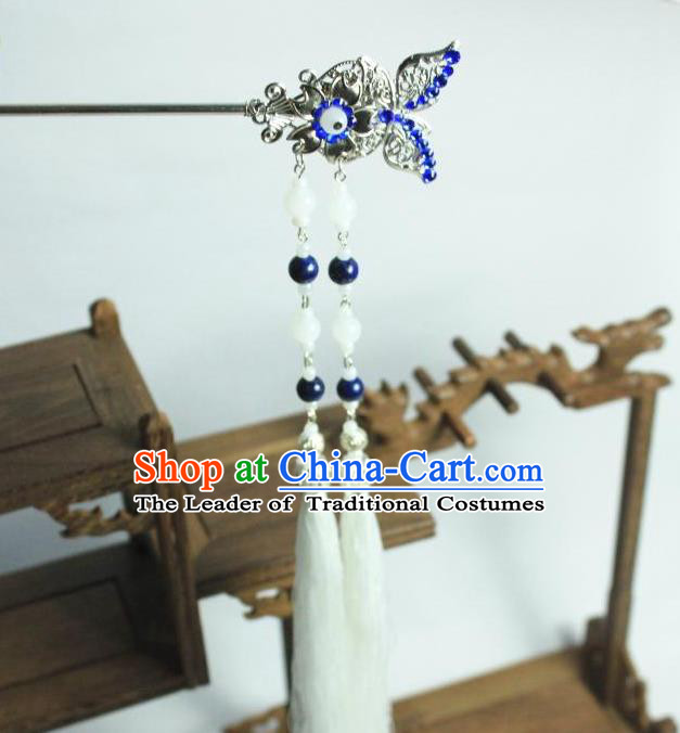 Traditional Chinese Ancient Jewelry Accessories, Ancient Chinese Han Dynasty Imperial Princess Hairpin, Princess Butterfly Long Tassel Hair Pin for Women