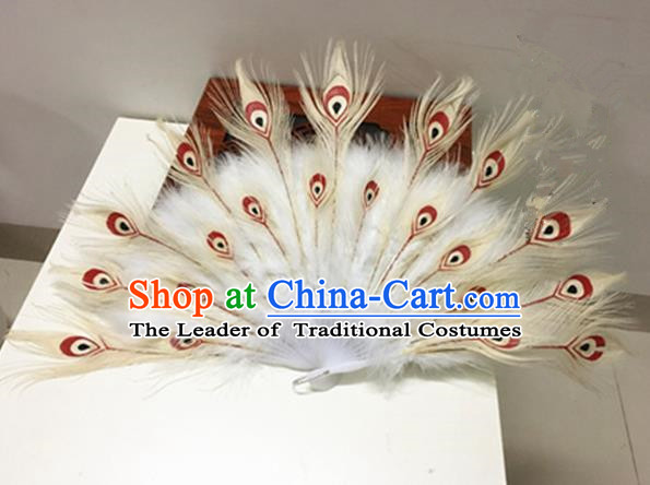 Traditional Chinese Ancient Han Dynasty Imperial Princess Peacock Feathers Fan for Women