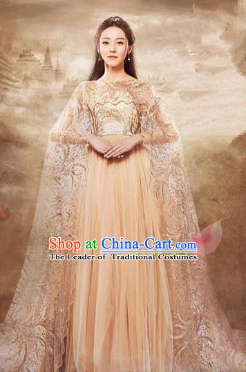 Traditional Chinese Ancient Princess Costumes, Chinese Teleplay Ten great III of peach blossom Role Han Dynasty Imperial Princess Wedding Bride Embroidery Clothes Complete Set for Women