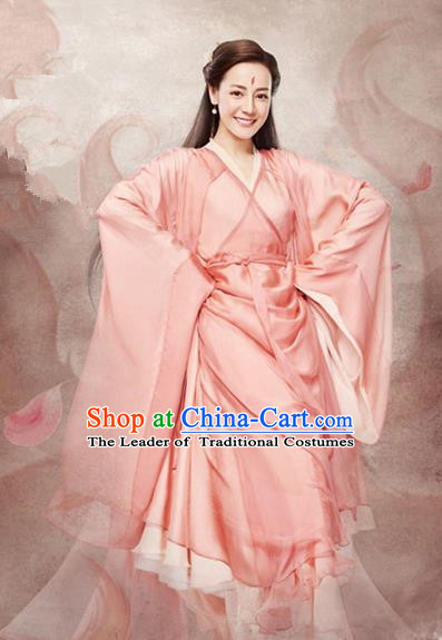 Traditional Chinese Ancient Princess Fairy Maiden Costumes, Chinese Teleplay Ten great III of peach blossom Role Han Dynasty Imperial Princess Wedding Bride Embroidery Clothes Complete Set for Women