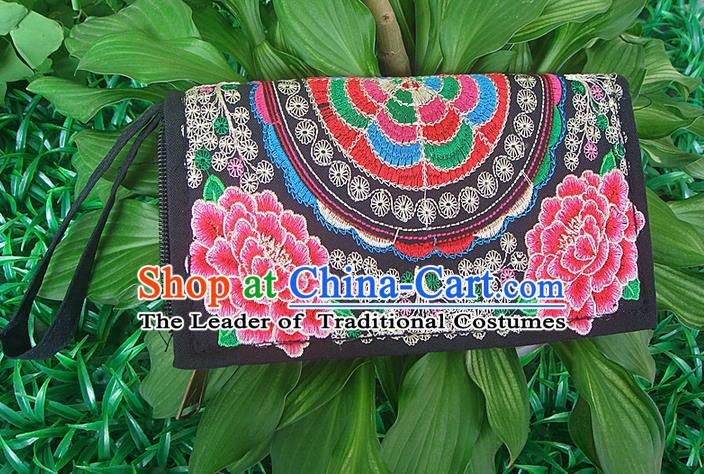 Traditional Chinese Miao Nationality Palace Handmade Double-Sided Embroidery Peony Handbag Wallet Hmong Handmade Embroidery Purse for Women