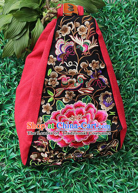 Traditional Chinese Miao Nationality Palace Handmade Single-Sided Embroidery Peony Backpack Hmong Handmade Embroidery Canvas Shoulders Bags for Women