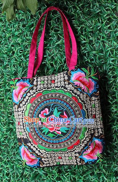 Traditional Chinese Miao Nationality Palace Handmade Single-Sided Embroidery Peony Butterfly Handbag Hmong Handmade Embroidery Canvas Single Shoulder Bags for Women