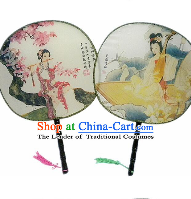 Ancient Chinese Tuan Shan Circular Fan Moon Shaped Fan Stage Property Dance Chinese Painting Ancient Beauty