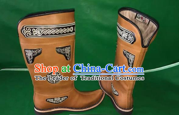 Traditional Chinese Minority Mongol Nationality Ethnic Minorities Mongolian Dance Cowhide Boots, Mongolian Knee Boots Handmade Jockey Boots Tanks Boots for Men