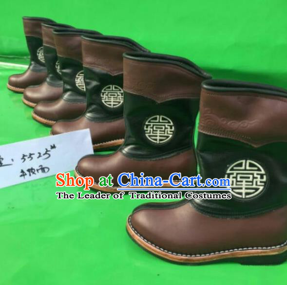 Traditional Chinese Minority Mongol Nationality Ethnic Minorities Mongolian Children Dance Cowhide Boots Mongolian Knee Boots Jockey Boots Tanks Boots for Kids