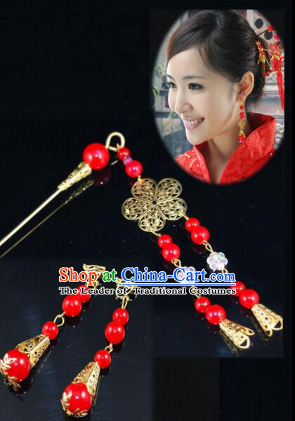 Chinese Traditional Style Head Wear Set Head Pins Ear Ring Tassels Wedding