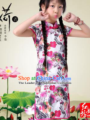 Qi Pao For Girls Cheongsam For Children Play Stage Costume Chinese Traditional style Princess Dress