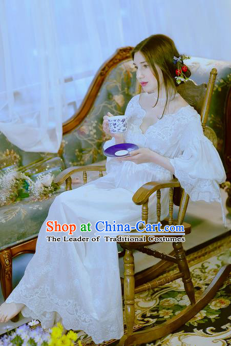 Traditional Classic Women Clothing, Traditional Classic White Silk Pajamas Heavy Lace Embroidery Evening Dress Restoring Garment Skirt Braces Skirt, Long Skirt